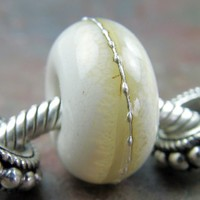 Art Glass Charm Lampwork Bracelet Bead Ivory Clear Band Silver Organic