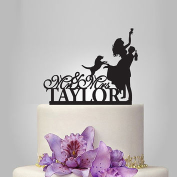 Funny wedding cake topper silhouette, monogram cake topper, Mr&Mrs cake topper, groom and drunk bride cake topper, personalize cake topper