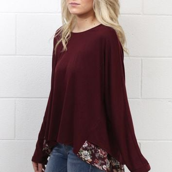 Floral Trail Hem + Back Split Blouse {Maroon}