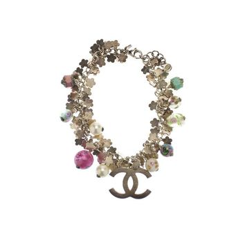 Pre-owned Chanel Silver Natural Stone Charm Bracelet