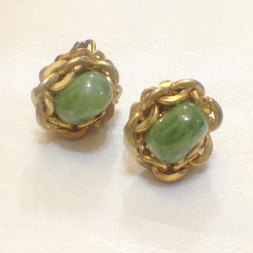 Vintage Miriam Haskell Jade Earrings with Goldtone Chain Rims, Tiny Pressed Metal Flower on Cabochons