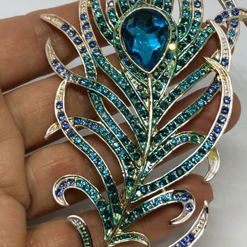 Vintage Austrian Crystal peacock feather Brooch Pin