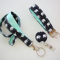 Lanyard ID Badge Holder - retractable Reel - Key FOB / KeyChain / Wristlet Set - White elephants on mint - coworker gift under 25