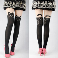Kitty Tattoo Over-knees Tights