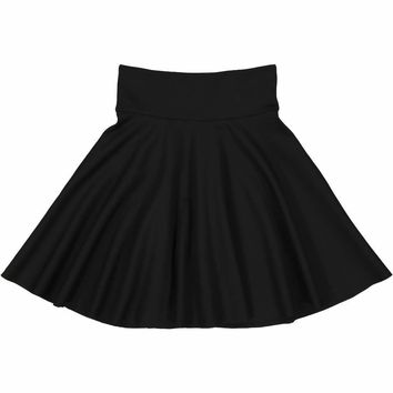 Teela Girls' Black Ponte Circle Skirt