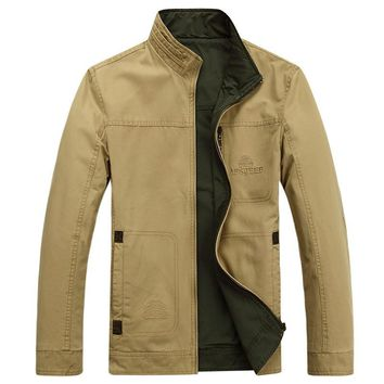 Plus size M-4XL casual Spring jacket men cotton stand collar mens military jacket loose both side can wear cargo coats chaqueta