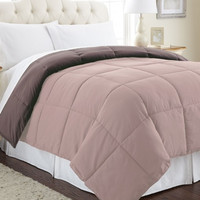 Down alternative reversible comforter Mocha/Dusty Pink Queen