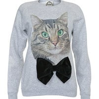 Alice Takes a Trip Grey Cat Bow Sweater