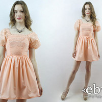 Vintage Prom Dress Peach Prom Dress Peach Dress 70s Prom Dress Lace Dress 1970s Dress 70s Dress Puff Sleeve Dress Bridesmaid Dress XXS