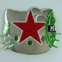Red Star Hello Kitty Magnet - Made from Heineken beer can   - beer can magnet - soda can magnet  - beer gift - guinness gift - unique gift