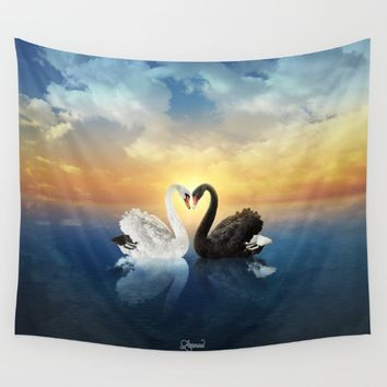 Cisnes Love Wall Tapestry by lostanaw