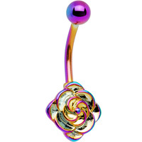 Rainbow Electro Titanium Flower Bloom Belly Ring | Body Candy Body Jewelry
