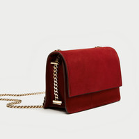 SUEDE CROSSBODY BAG WITH GOLD CHAIN