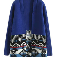 Blue Contrast Tribe Pattern Long Sleeve Open Front Knit Cardigan