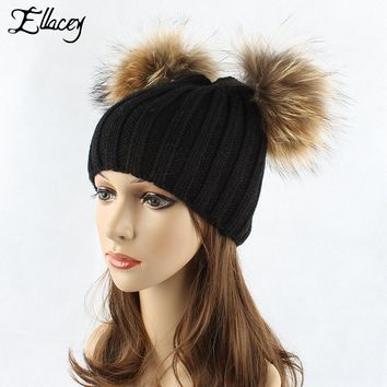 Ellacey 2017 Autumn Winter Cute Xmas Double Hair Ball Beanies Hat Women Knitted Cap With Raccoon Fox Fur Pompom Christmas Hats