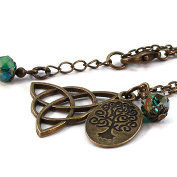 Bronze Celtic Knot Necklace, Tree of Life, Triquetra Necklace