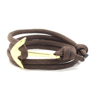 Gold Anchor on Dark Brown Rope