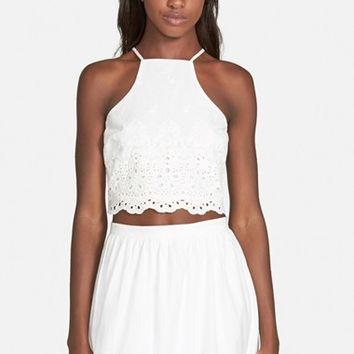 Women's Lucca Couture Eyelet Crop Halter Top,