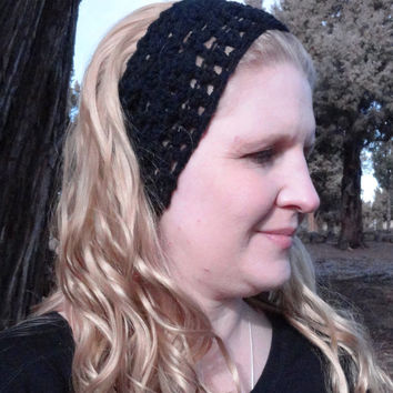 Crochet Headband, Black Headband, Ear Warmer Bulky Warm Wool Yarn, Stylish, Cute, Crochet, Free Shipping USA only