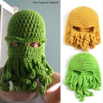 ESBON Handmade Funny Animal Cthulu Beards Hats Octopus Hats caps Crocheted Tentacle Beanies for Men and Women Halloween Birthday Gifts