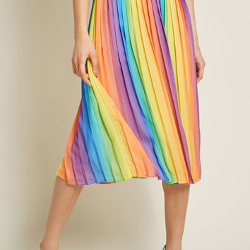 Beautifully Upbeat Pleated Midi Skirt in Rainbow