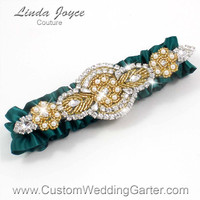 Dark Green and Gold Vintage Wedding Garter Rhinestone 589 Jungle Green Custom Luxury Prom Garter Plus Size & Queen Size Available