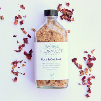 Rose & Oat Bath Soak // Dead Sea Bath Salts, Pink Himalayan Bath Salts | Organic Rose Bath Salts | Natural Vegan Skincare