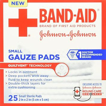 Band-Aid First Aid Gauze Pads, Medium (3 Inch x 3 Inch) 25 ea Pack of 2