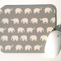 Elephant Mouse Pad / Gray and White / Modern Home Office Decor / Tiny Tip Top Japanese Canvas Fabric