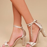 Raina Champagne Crushed Velvet Lace-Up Heels