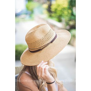 Chic Faux Leather Detail Straw Hat