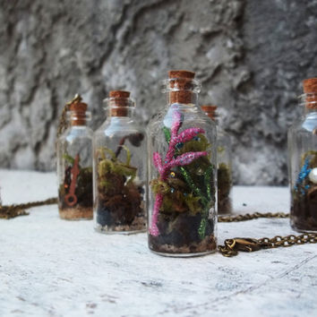 Psychedelic Colors and Sparkles Live Moss Terrarium Necklace