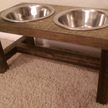 Cat Bowl Feeder - Farmhouse Style - Rustic Cat Bowl Stand - Raised Cat Bowl Feeder