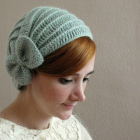 Light Green Crochet Beret with Bow