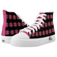 Pink and Yellow Feathery Flower Pattern High-Top Sneakers