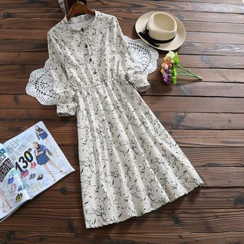 Clobee Mori Girl Style Vintage Office Tunic 2017 Full Sleeved Corduroy Dresses Female ukraine Long Floral Dresses Korean Lolita