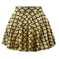 Dress Print Strong Character High Rise Pleated Skirt [6049155777]