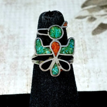 Vintage Sterling Silver Thunderbird Southwest Chip Inlay Turquoise Blue Coral Red Jet Black Size 4.5 Southwestern Jewellery Handmade