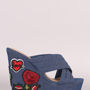 Bamboo Quilted Denim Cross Band Heart Patch Platform Wedge