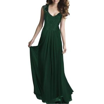 Lace Long Dress Sleeveless Hollow Backless Chiffon  green