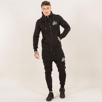 Mens Two Piece Set Tracksuits Top and Pants Color Patchwork Hoodies Sweatshirts Coat Sportwear Long Sleeve Sporting Suit Solid