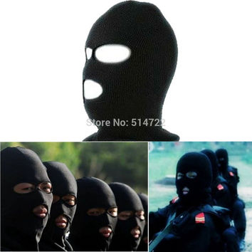 2016 New Full Face Cover Ski Mask Three 3 Hole Balaclava Knit Hat Winter Stretch Snow mask Beanie Hat Cap Free Shipping
