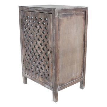 Decor Therapy Distressed Quatrefoil End Table (Grey)