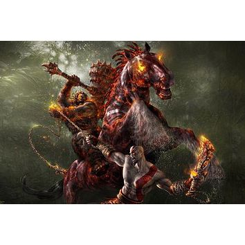 GOD OF WAR horse fire man weapons FIGHTING chains clubs TRIBAL 24X36