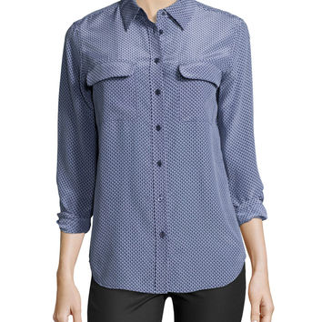 Signature Slim Printed Silk Blouse, Size: