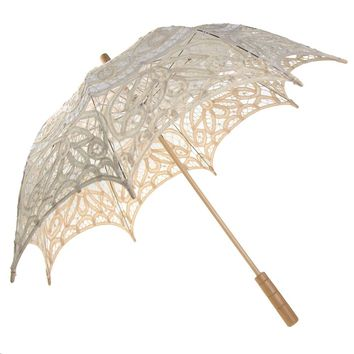 Vintage Cotton Lace Bridal Wedding Parasol, 24-D
