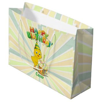 Colorful Birthday Chicken Cartoon Large Gift Bag