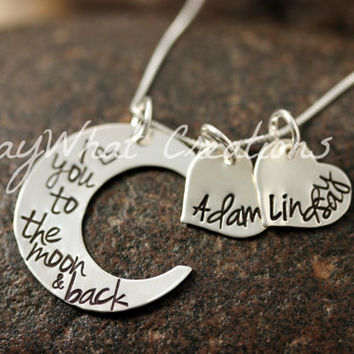 I Love You To The Moon Sterling Silver Moon by SayWhatCreations