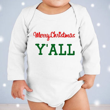 Merry Christmas y'all Christmas Onesuit. Merry Christmas Onesuit. Funny Christmas Onesuit. Newborn Christmas Onesuit. My first Christmas Onesuit.
