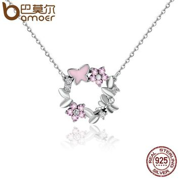 100% 925 Sterling Silver Pink Poetic Daisy Cherry Blossom Wreath Women Pendant Necklaces Sterling Silver Jewelry SCN098
